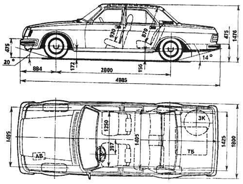 """Габаритные размеры ГАЗ-31029 """"Волга"""""""